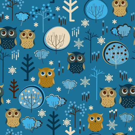 Cute colorful vector with owls and trees. Seamless pattern