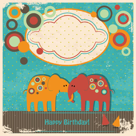 cute elephants greetings card Vector