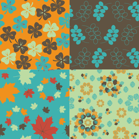 Set of 4 floral seamless patterns. Retro backgrounds
