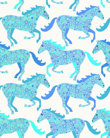 Horse seamless pattern. Vector pattern for web-design, textile, graphic design.   Illustration