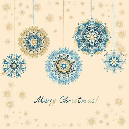 Retro Noel Süsler. Güzel kar taneleri ile Noel bağbozumu arka