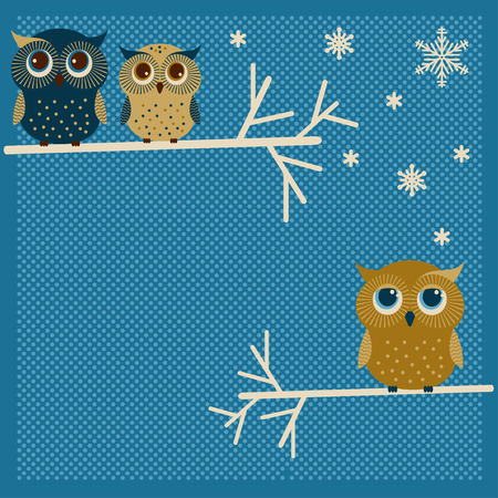 Three cute owls on the tree. Winter background Vector