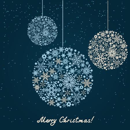Retro Noel Arkaplan. Güzel kar taneleri yılbaşı topları Illustration