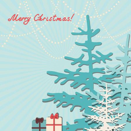 Retro Christmas Background. Beautiful Christmas trees   Vector