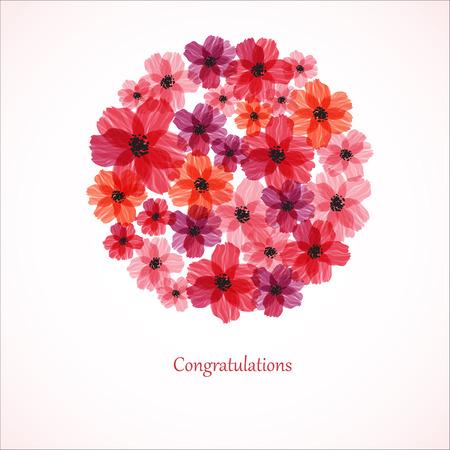 Stilize kırmızı çiçekler. Özet floral background.