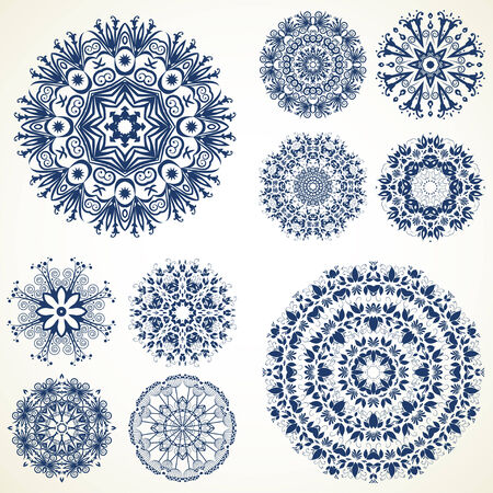 Vector kaleidoscopic floral pattern, mandala. Set of ten ornament lace. ornamental round lace pattern, circle background with many floral details