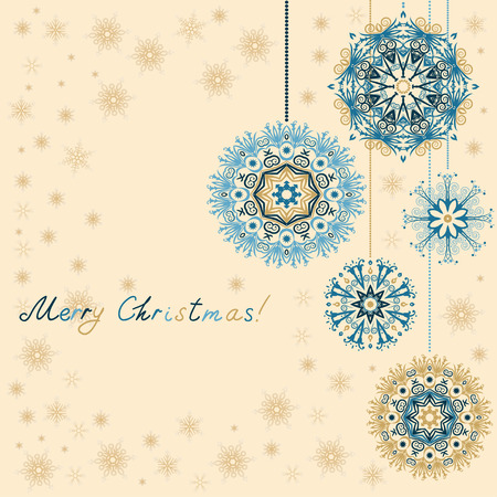 Retro Christmas Ornaments. Christmas vintage backgrounds with beautiful snowflakes