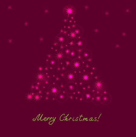 Christmas tree from light vector background  Illustration
