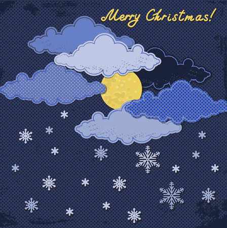 Paper moon and clouds with snowflakes. Creative vector background. Christmas and New year greeting card or invitation template