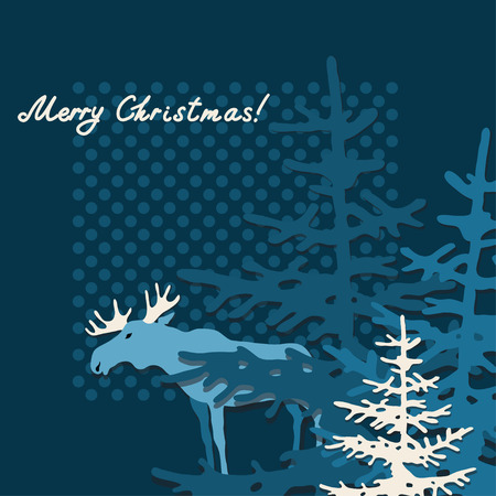 Christmas and New Year background with elk, xmas retro gift template, abstract beautiful card, stylized forest with graphic christmas trees for design  Illustration