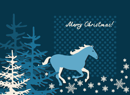 Christmas and New Year background with horse, xmas retro gift template, abstract beautiful card, stylized forest with graphic christmas trees for design