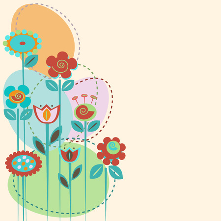 Cute flowers. Abstract floral background. Template for greeting card, invitation Illustration