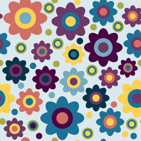 Cute flowers. Floral seamless background.Vector pattern for web-design, textile, graphic design.  일러스트