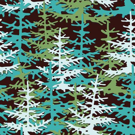 Firs seamless pattern. Christmas tree background
