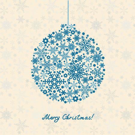 Retro Christmas Background. Beautiful snowflakes christmas balls
