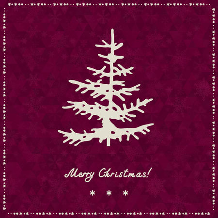 Christmas tree silhouette on triangle background. Christmas and New Year background, xmas retro gift template.