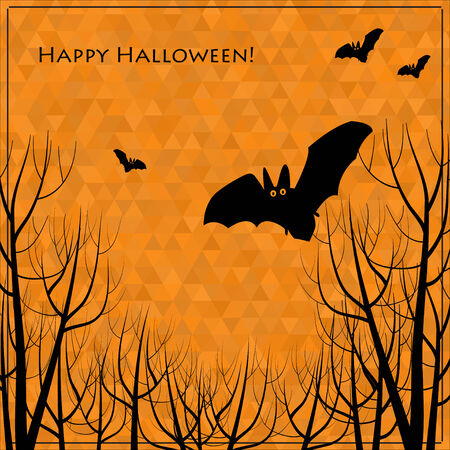 Halloween bats and trees background