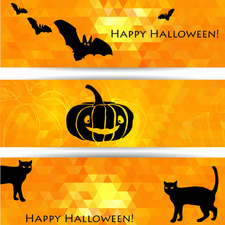 Halloween banners with black cats, pumpkin and bats