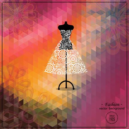 Beautiful evening or cocktail dress on mannequin. Retro fashion background. Bridal shower. Wedding invitation template. Illustration