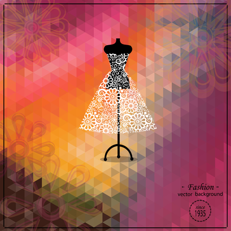 Beautiful evening or cocktail dress on mannequin. Retro fashion background. Bridal shower. Wedding invitation template. Illustration