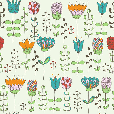 Cute flowers. Floral seamless background.  Vector pattern for web- and graphic design, textile.