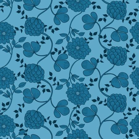 Floral seamless pattern. Hand drawn. Retro background