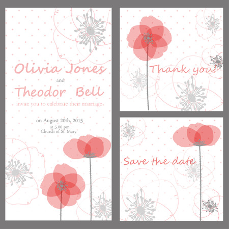 Wedding card or invitation with abstract floral background. Elegant greeting postcard.