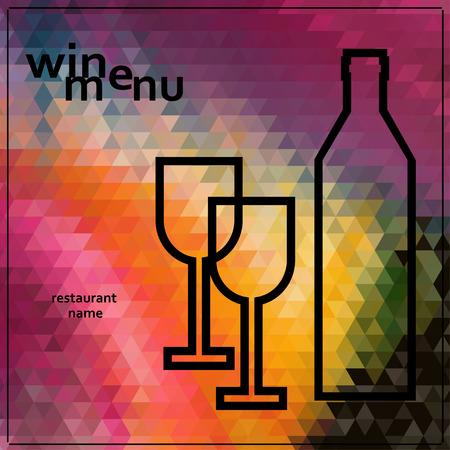 Restoran veya şarap bar menü tasarımı. Vektör çizim