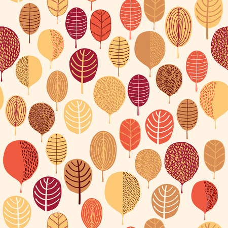 Seamless pattern with leaf, autumn leaf background for web and graphic design, textile.  Illustration