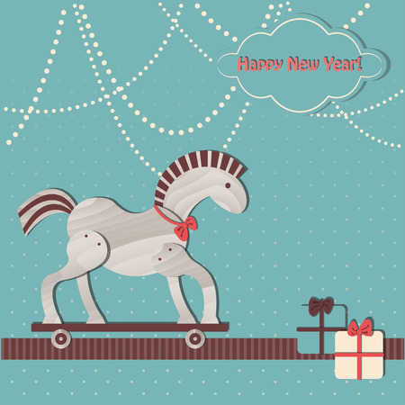 Retro Christmas and Happy New Year Background. Toy wooden horse. Symbol of the year 2014.