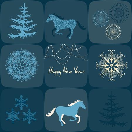 Retro Christmas Background. Beautiful snowflakes, Christmas trees and horses. Design elements 일러스트