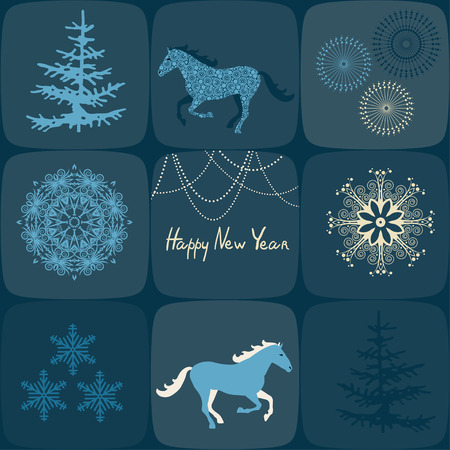Retro Christmas Background. Beautiful snowflakes, Christmas trees and horses. Design elements