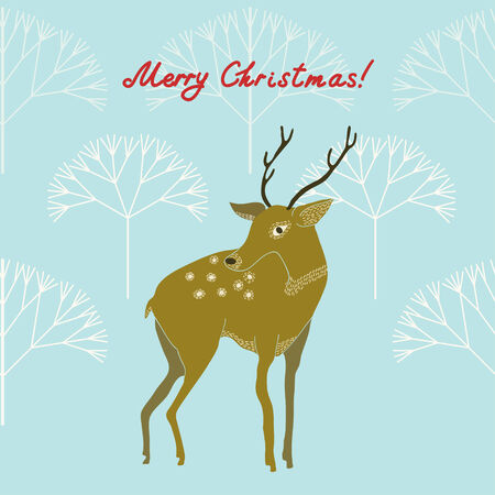 Retro Christmas Background with a deer.   일러스트