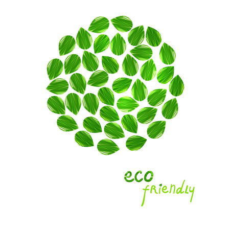 Green leaves abstract background. Vector illustration. Eco friendly