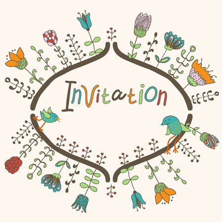 Cute flowers and birds background, Invitation template, hand drawn