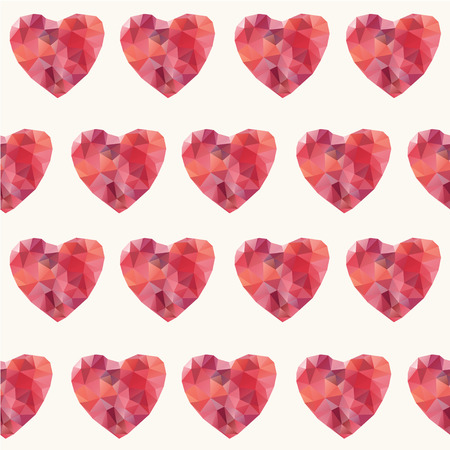 Mosaic hearts seamless pattern.  Illustration