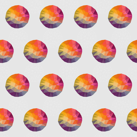 Geometric seamless pattern, Round shapes made of triangles