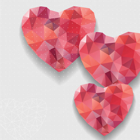 Red heart and flowers. Elegant Valentine`s day background. Card template. Vector illustration