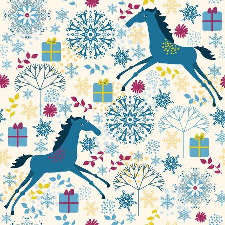 Horse seamless pattern. Vector pattern for web-design, textile, graphic design.   Illustration