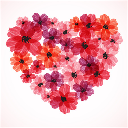 Red heart made of flowers. Elegant Valentine`s day background. Card template. Vector illustration Illustration