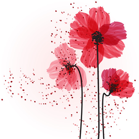 birthday cards: Stylized red flowers. Abstract floral background.