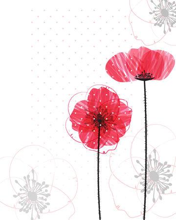 Poppy background 일러스트