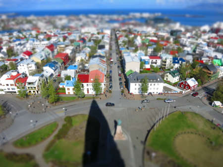 tilt views: Reykjavik from above, tiltshift ish in Iceland Stock Photo