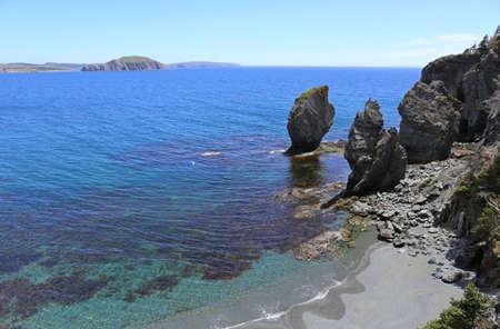 newfoundland: newfoundland skerwink trail, rocks in the sea Stock Photo