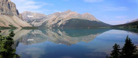 Bow Lake Panorama in Canada Stock Photo