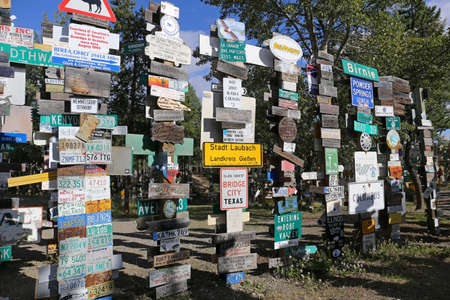 sign post: Sign Post Forest in Watson Lake, Yukon, Canada Editorial
