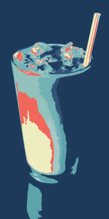 iced: Iced Cappuccino, Ice Coffee or Latte in Blue and Red