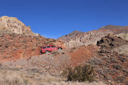 Toyota Landcruiser on the Way to Titus Canyon Road, Death Valley National Park, California, United States of America, Nov 2014