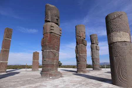 atlantes: Toltec Warriors columns topping the Pyramid of Quetzalcoatl in Tula, Mexico