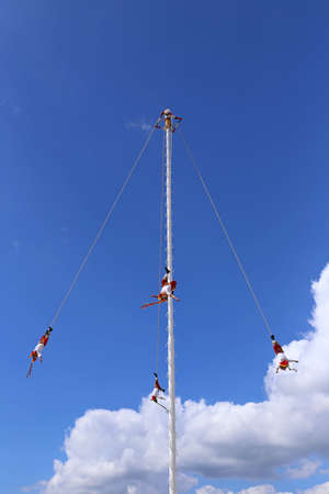 Voladores from Papantla in Mexico, Mayan Bungee Stock Photo